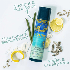 Azure Planet Friendly Hair Repair Shampoo - haircare with shea butter and baobab extract coconut and yuzu scent