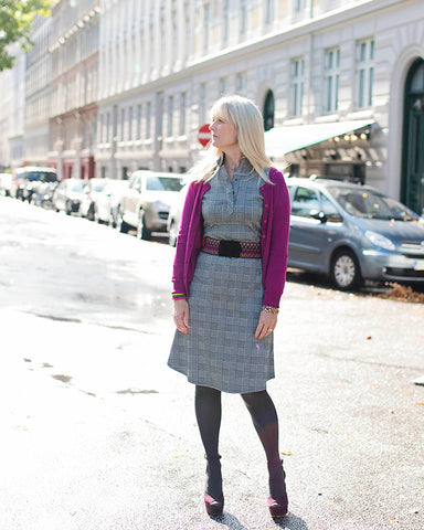 Dagens outfit | Annabell ternet kjole med pink cardigan
