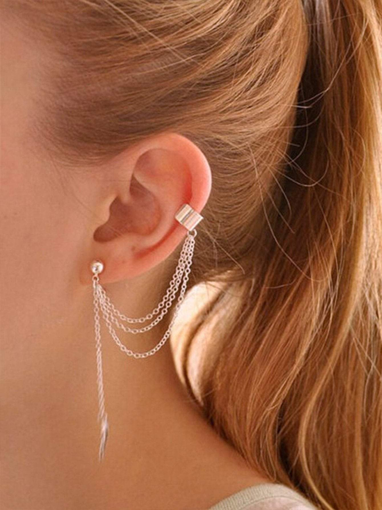 Chain Thread Earrings With Cuff 1pc Shop n Save Pakistan