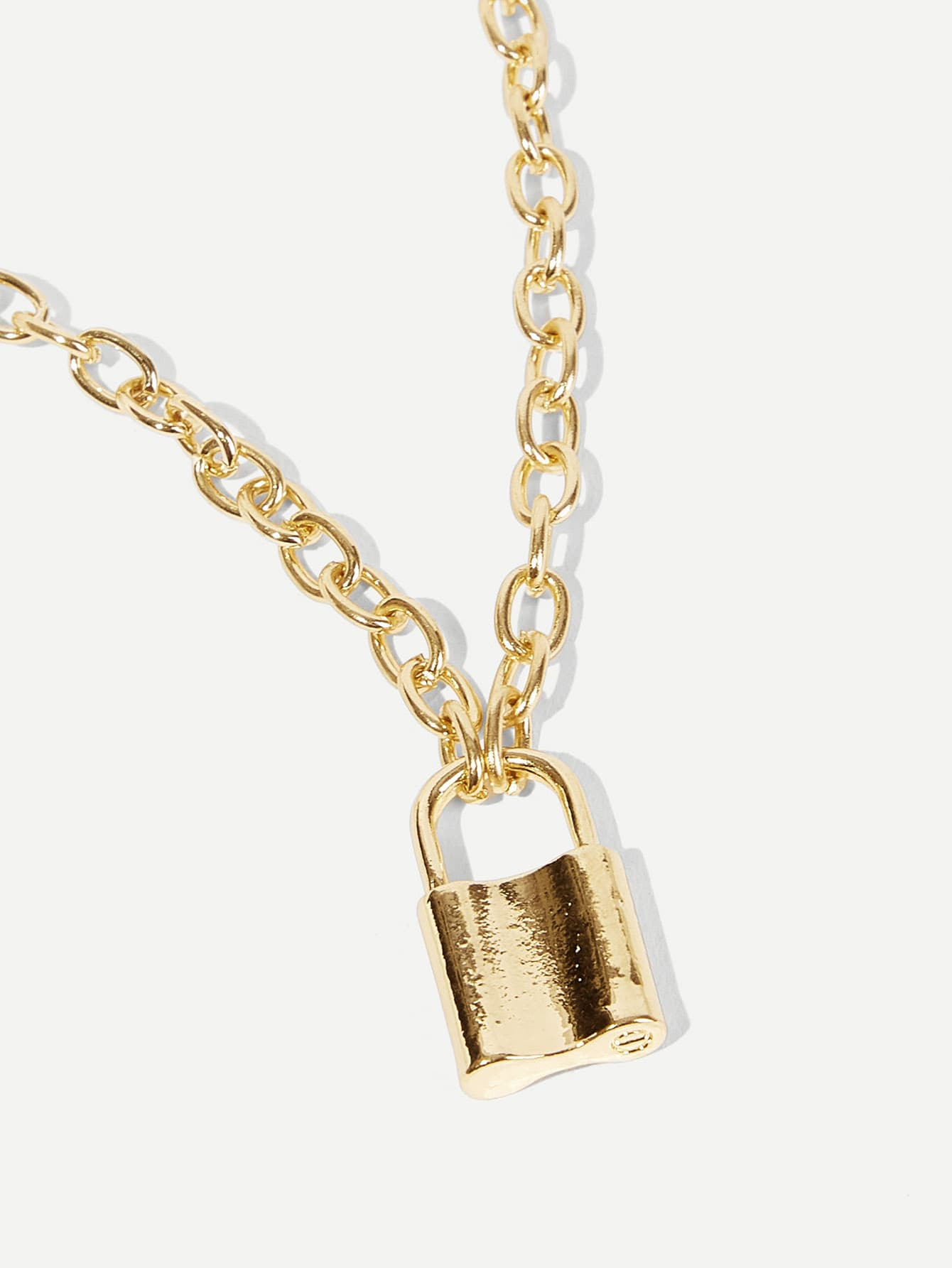 Lock Pendant Chain Necklace 1pc - shopnsave.pk