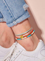 Flower & Layered Strings Anklet 4pcs - shopnsave.pk