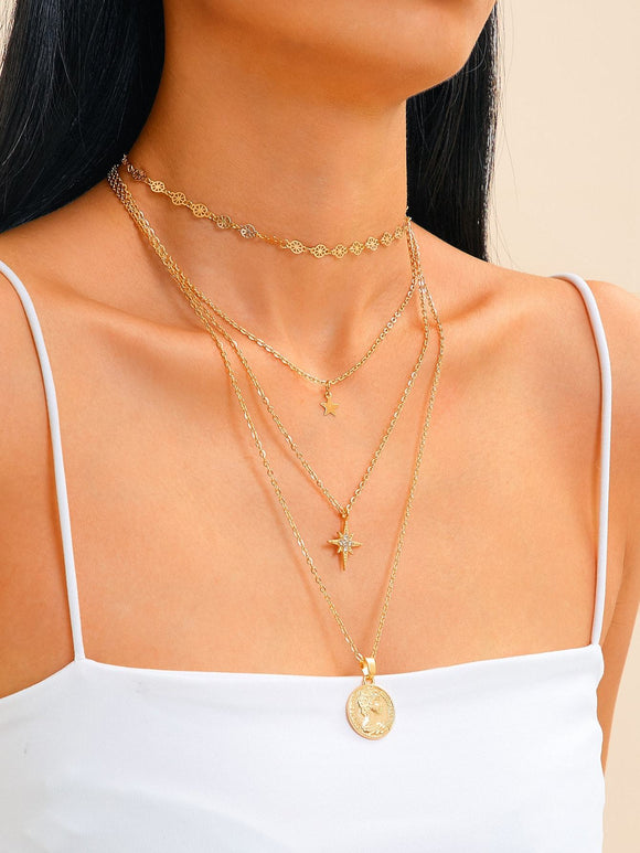 Star & Coin Charm Layered Chain Necklace 2pcs - shopnsave.pk