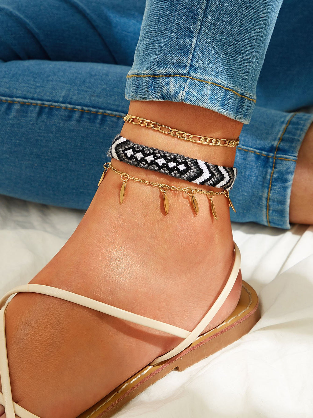 Leaf Charm & Tribal Braided Anklet 3pcs - shopnsave.pk