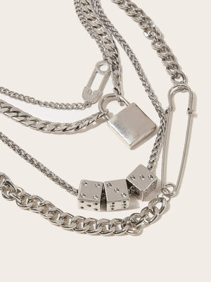 Lock & Clip Decor Layered Chain Choker 1pc - shopnsave.pk
