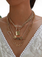 Lock & Paper Clip Decor Layered Necklace 1pc - shopnsave.pk