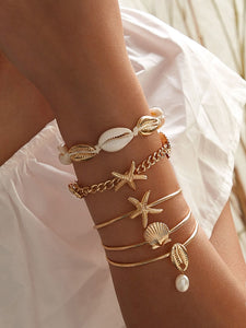 Starfish & Shell Decor Bracelet 5pcs - shopnsave.pk