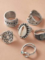 7pcs Shell & Flower Decor Ring - shopnsave.pk
