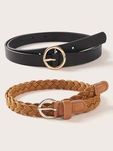 2pcs Braided O-ring Buckle Belt - shopnsave.pk