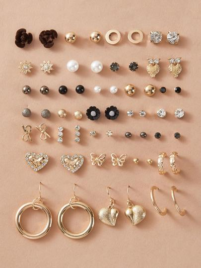 30pairs Faux Pearl & Butterfly Decor Earrings - shopnsave.pk