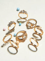 8pcs Rhinestone Engraved & Leaf Design Rings - shopnsave.pk