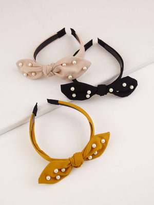 3pcs Faux Pearl Bow Knot Hair Hoop Shop n Save Pakistan