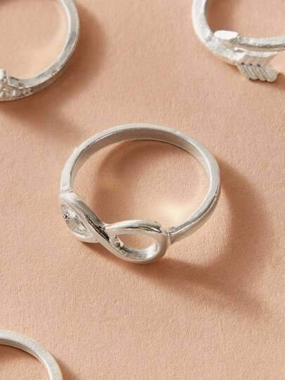 10pcs Heart & Infinity Decor Ring - shopnsave.pk