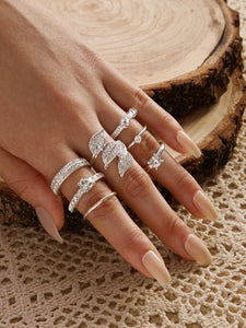 7pcs Rhinestone Engraved Leaf Shaped Ring - shopnsave.pk