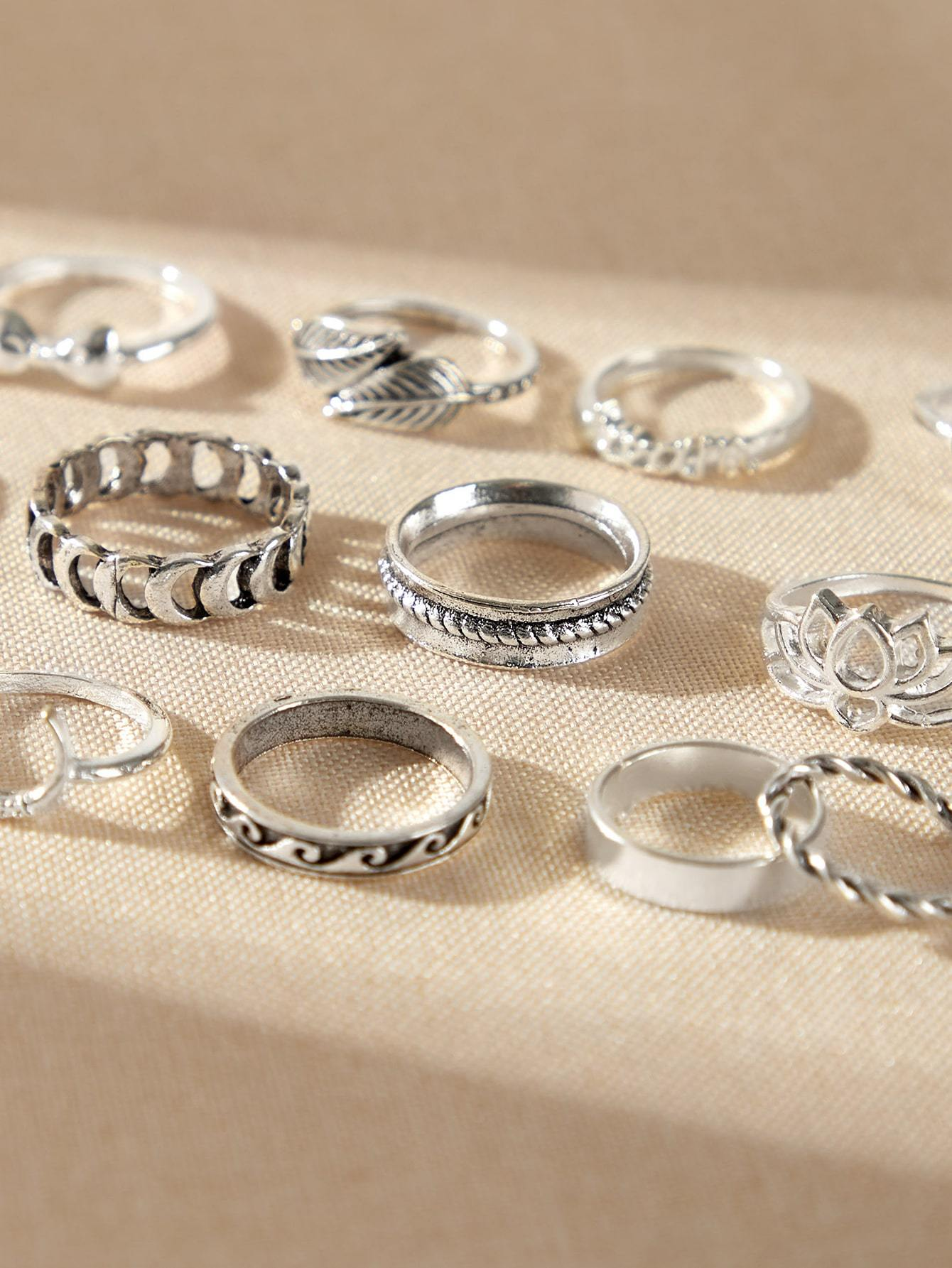 15pcs Wing & Heart Decor Ring - shopnsave.pk