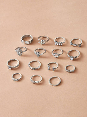 15pcs Rhinestone Engraved Ring - shopnsave.pk