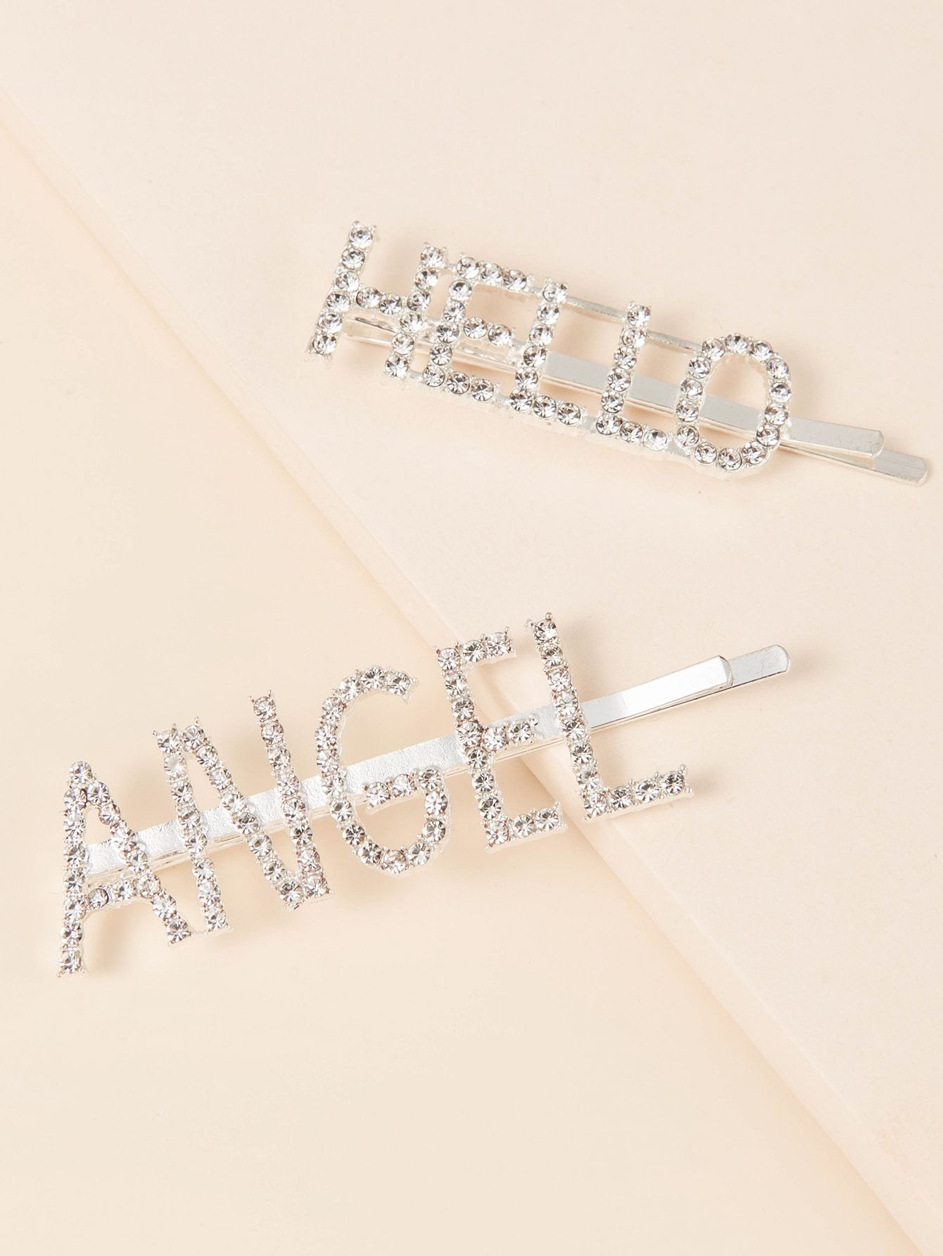 2pcs Rhinestone Letter Decor Bobby Pin Shop n Save Pakistan