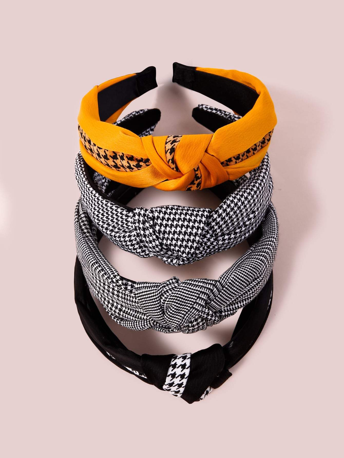 4pcs Houndstooth Printed Hair Hoop Shop n Save Pakistan