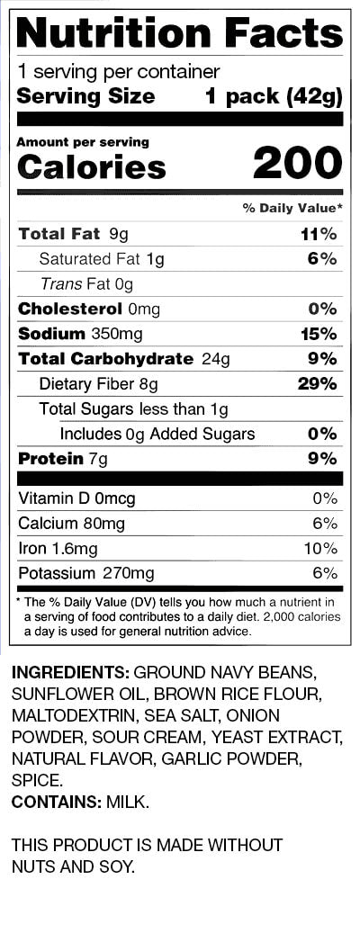 BUSH'S® Sour Cream and Onion Bean Chips - Nutritional Facts