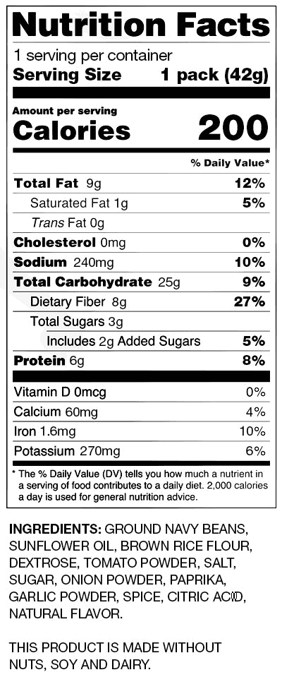 BUSH'S® Sweet Mesquite Bean Chips - Nutritional Information