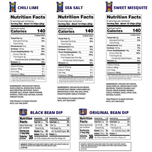 BUSH'S® Chips & Dips Sample Pack - Nutritional Information