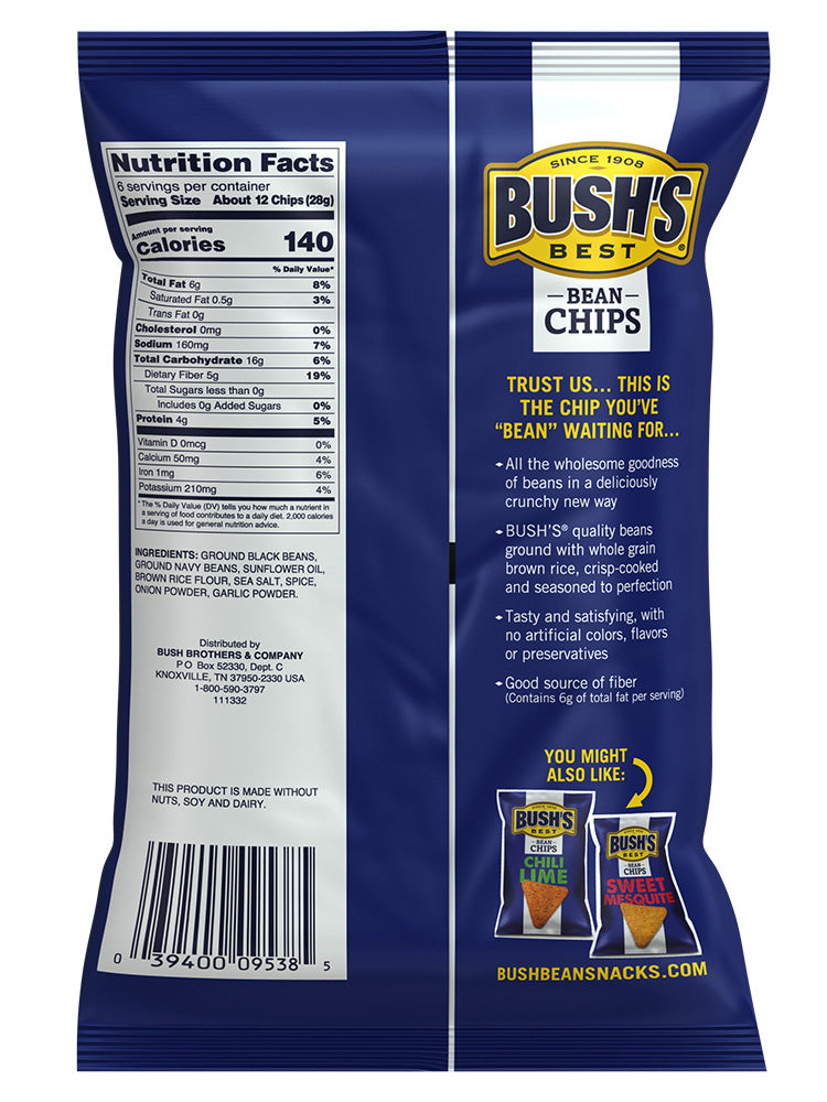 BUSH'S® Sea Salt Bean Chips - Back