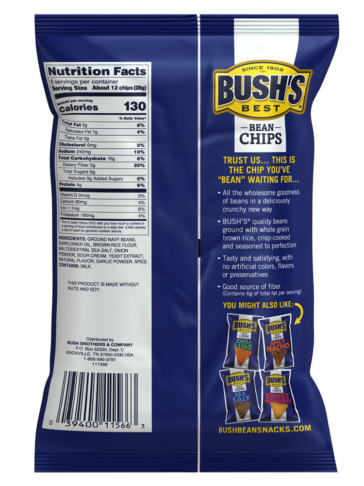BUSH'S® Sour Cream and Onion Bean Chips - Back