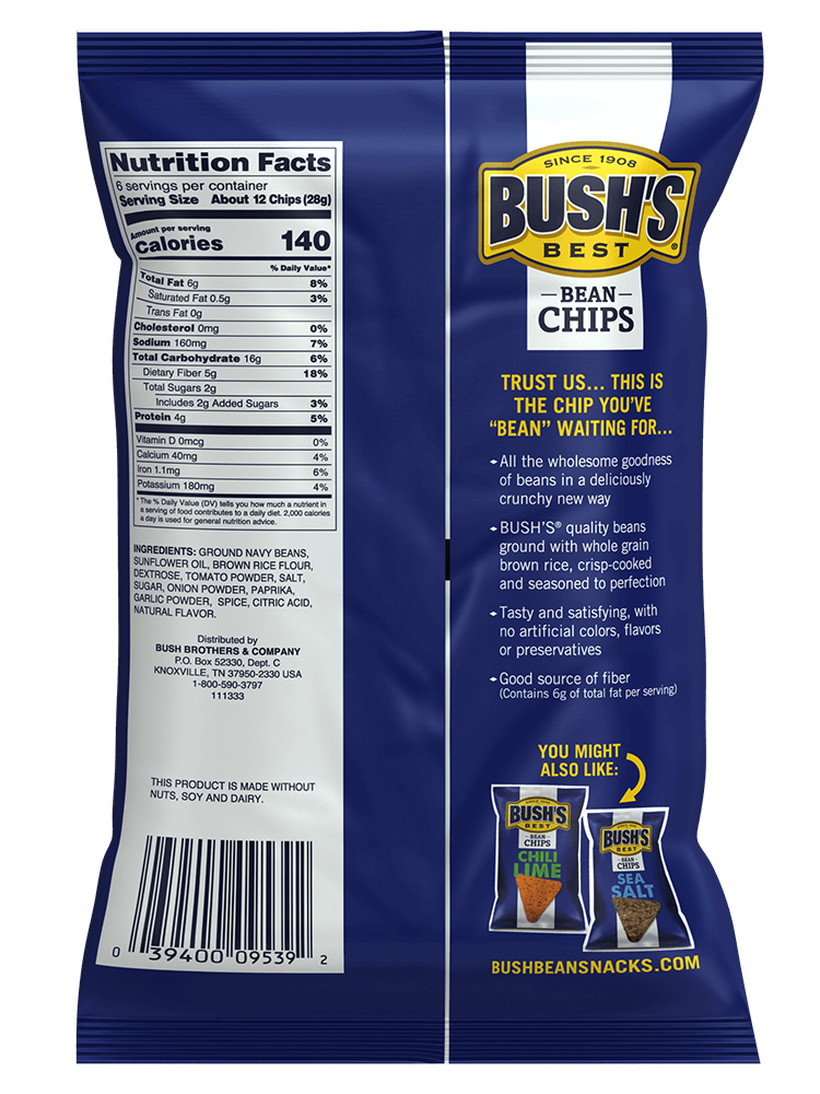 BUSH'S® Sweet Mesquite Bean Chips - Back