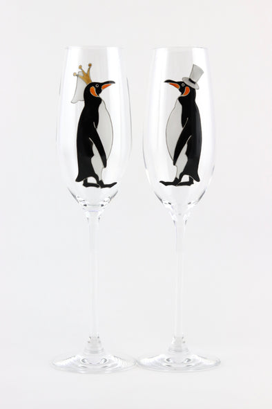 Bride and Groom Penguin Flutes