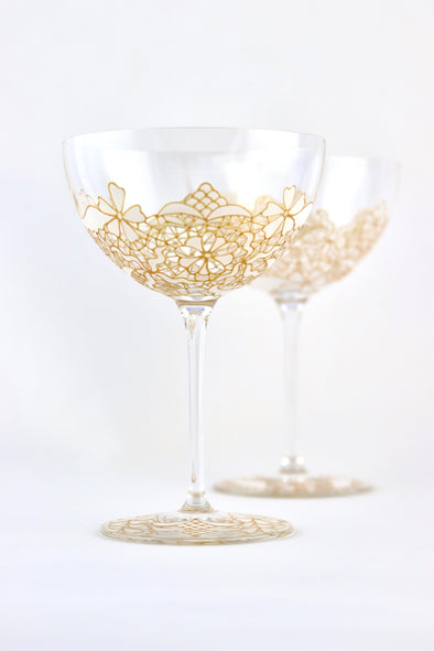 White Lace Champagne Coupe