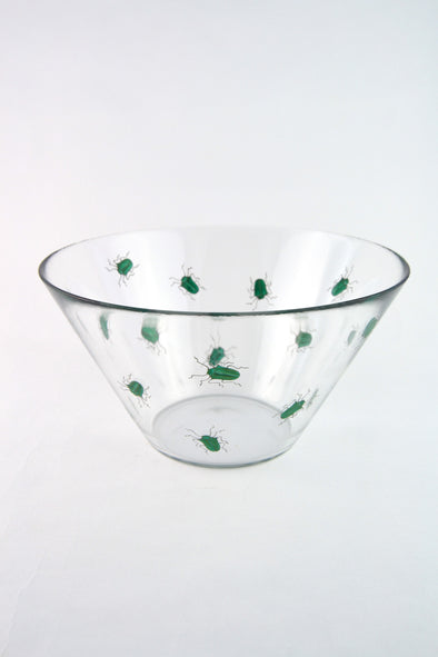 Large Glass Beetle Serving Bowl