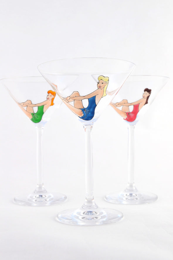 Vintage Pin Up Cocktail Glass
