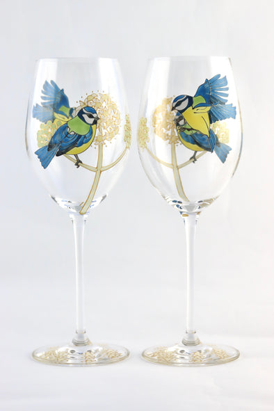 BlueTits Wine Glass