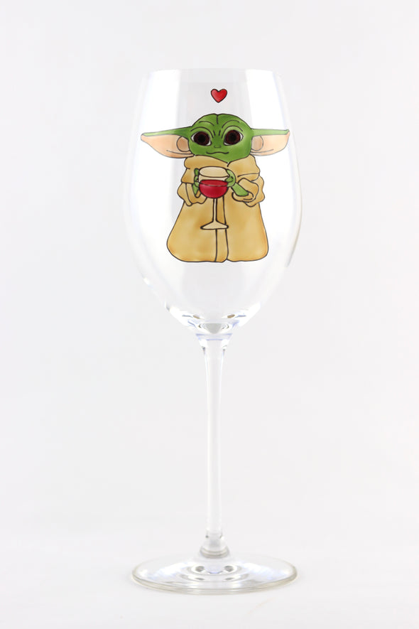 Baby Yoda Wine Glass