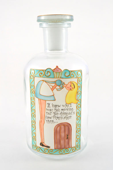 Hand painted Alice in Wonderland Gin Decanter/ Apothecary Bottle