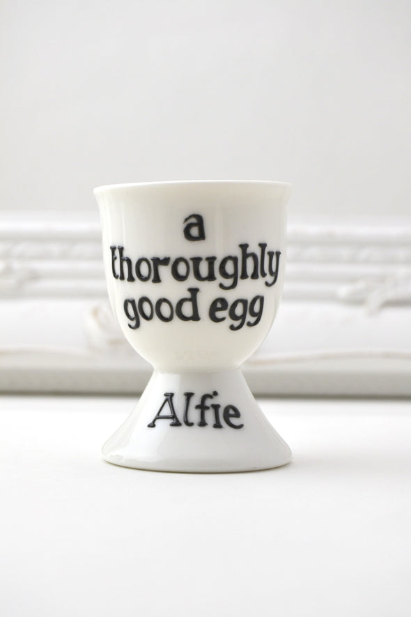 Personalised 'Good Egg' egg cup