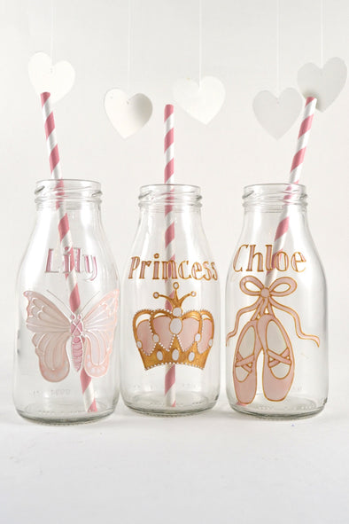 Girls Personalised Mini Milk Bottles