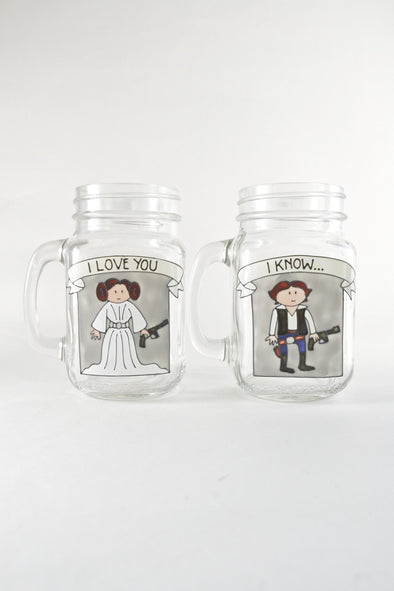 Leia and Han Solo Drinking Jars