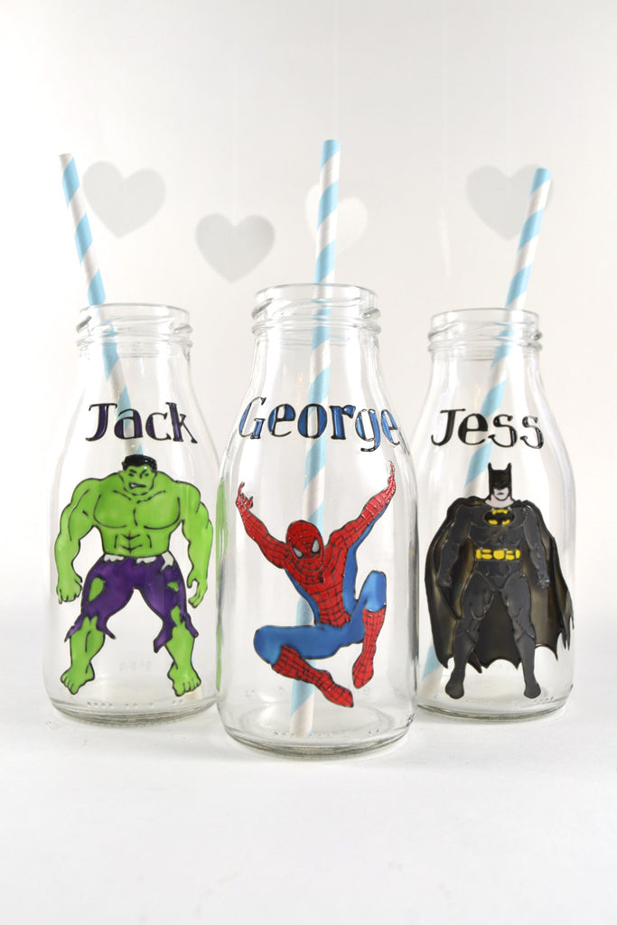 Superhero Mini Milk Bottles