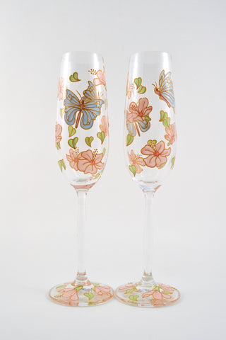 Butterflies and Blossom Champagne Flute