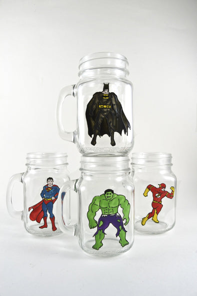 Superhero Drinking Jars