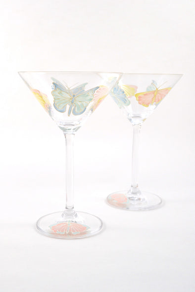 Pastel Butterflies Cocktail Glass