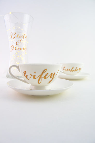 Wifey/Hubby Low Pedestal Cup and Saucer