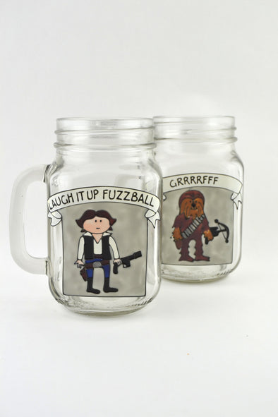 Han and Chewbacca Drinking Jars
