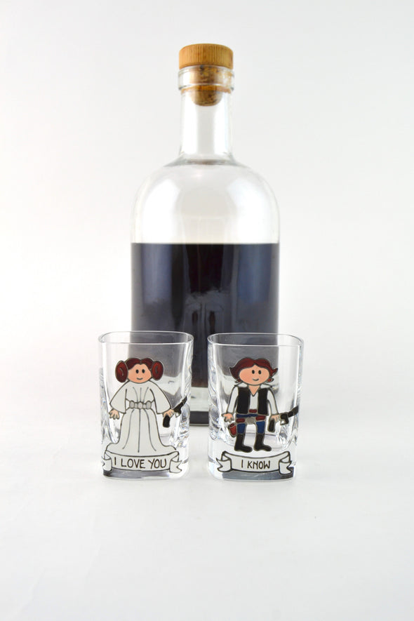 Leia and Han Shot Glasses