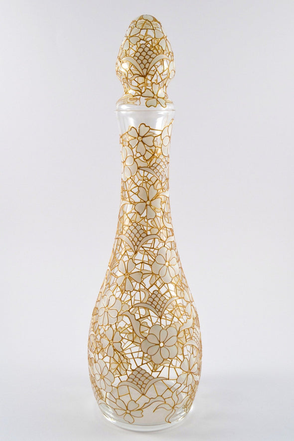 White/Gold Lace Decanter