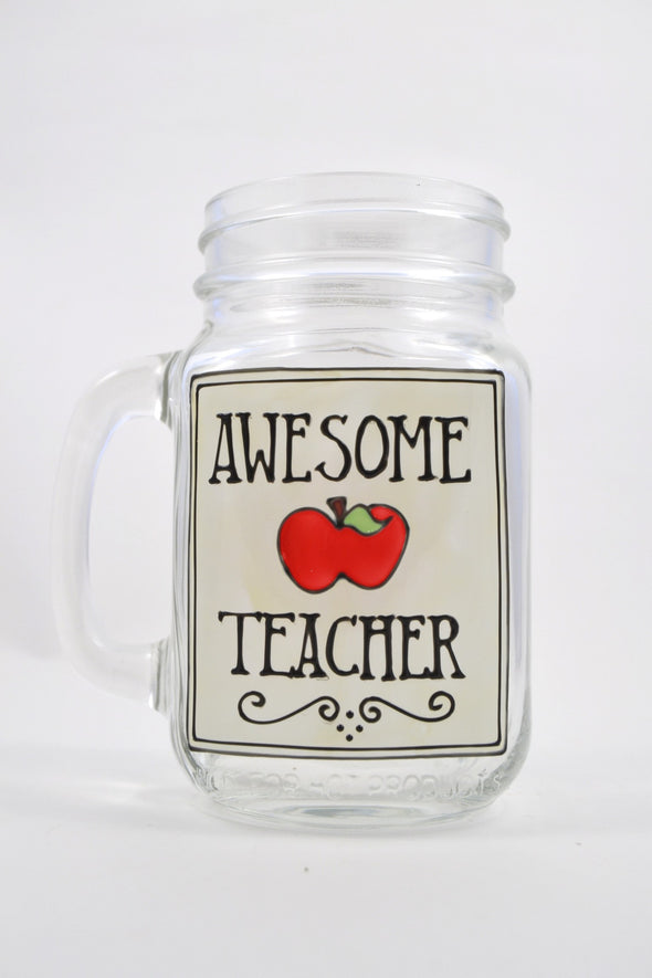 Awesome Teacher Drinking Jar (black and white)