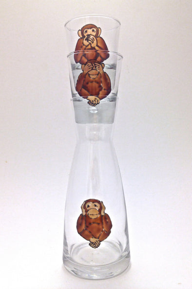 Three Wise Monkeys Mini Carafe Set