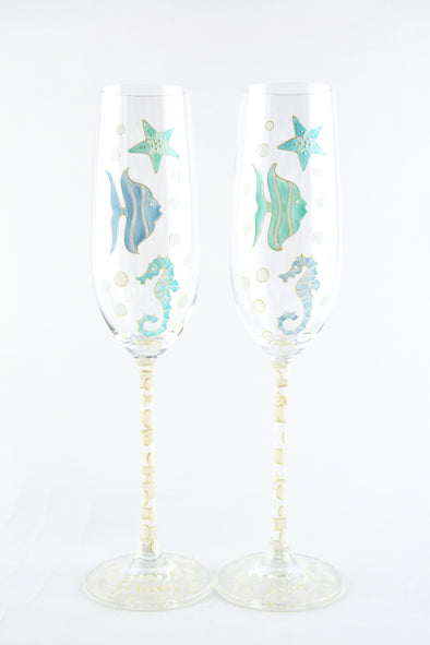 Under the Sea Champagne Flutes
