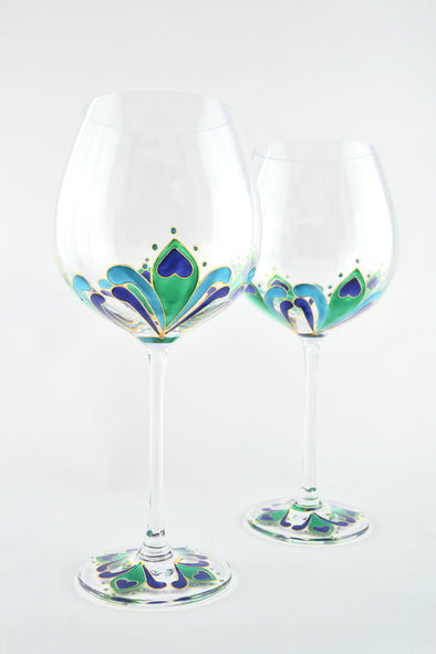 Peacock Feather Wine Goblet