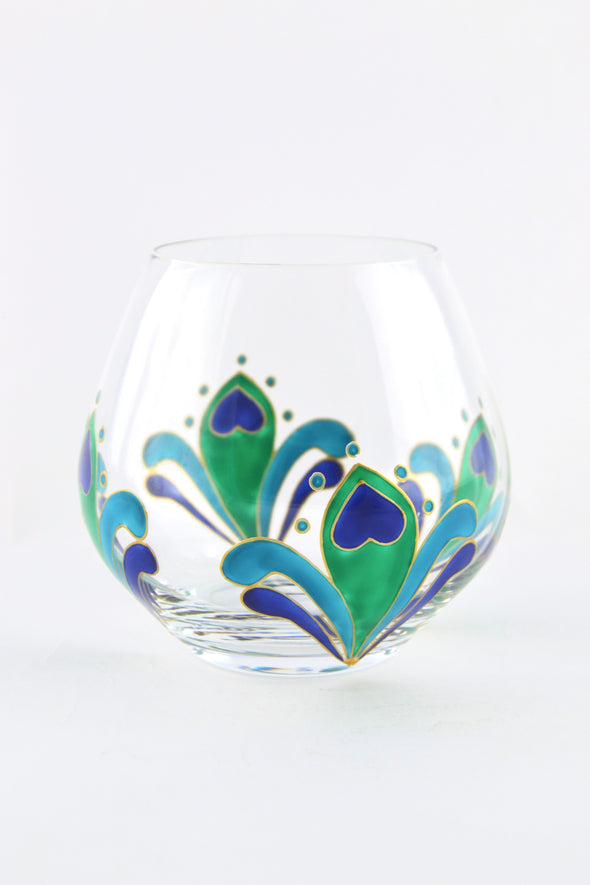 Peacock Feather Crystal Tumbler